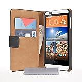 Caseflex HTC Desire 510 Tasche Schwarz Echt Leder Brieftasche Hülle