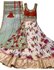 Print Red Long Anrkali Long Bhagalpuri Unstich Dress