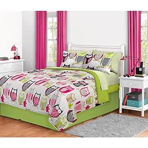 6pc Girl Green Pink Owl Zebra Bird Twin Comforter Set (Bed in a Bag)