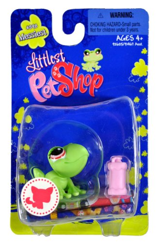 "Hasbro Year 2008 Littlest Pet Shop Single Pack ""Messiest"" Series Bobble Head Pet Figure Set #898 - Green FROG with Pink Water Bottle (#92625) - 1"