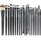 Make-up Brushes, QJ 20pcs Makeup Brushes Set Multi Function Foundation Eyeshadading Eyebrow Lip Eyeliner Cosmetic Tool (Black)