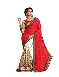 IndiWeaves Women Chinon Jacquard+Georgette Embroidered Red+Off White Saree.