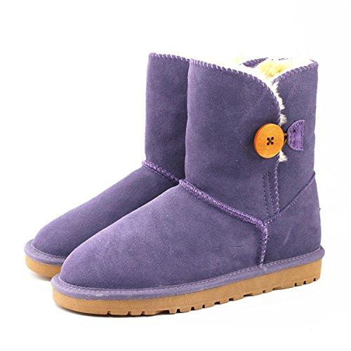 L'autunno e l'inverno in neve tubo stivali donna in pelle pulsante moda scarponi da neve tendine alla fine piatto con stivali caldi in tubo , dream purple , 37