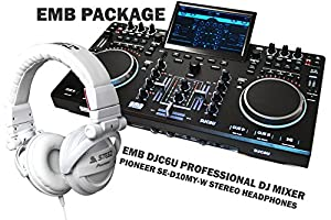 PACKAGE - PIONEER SE-D10MT-W White Headphones + EMB DJC6U Professional Controller DJ MIXER 2 Jog Wheels Scratching + Controlling With TFT Display - Virtual DJ Compatible / Virtual DJ Disk included - For Home Entertainment | DJ Performance | Club | Bar | P