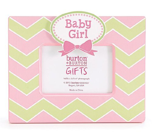 """Baby Girl"" Wooden Pink & Green Chevron Picture Frame for 3.5x5"" Photo - 1"