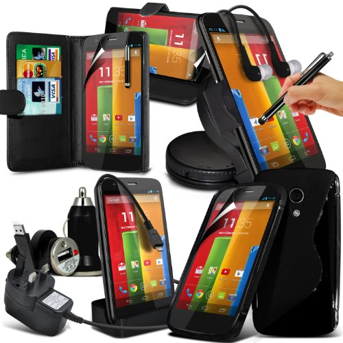 10-In-1 Superior Pack Motorola Moto G Premium Pu Leather 3 Card Slots Leather Wallet Flip Case Skin Cover + Lcd Screen Protector Guard + Micro Usb Ce Approved 3 Pin Mains Charger + Micro Usb Desktop Charging Dock Stand Charger + S Line Wave Gel Case + 360