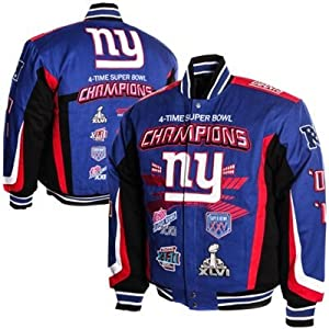 New York Giants 4-time Championship Emroidered Twill Jacket by MTC