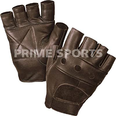 Prime Leather Quality Fingerless Gloves Real Leather Soft Weight Training Cycling Bike Wheelchair Body building weight lifting GYM Black Brown Tan by Prime Leather
