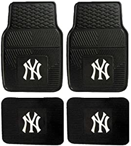 mlb new york yankees car floor mats heavy duty 4 piece vinyl front and rear the 4. Black Bedroom Furniture Sets. Home Design Ideas