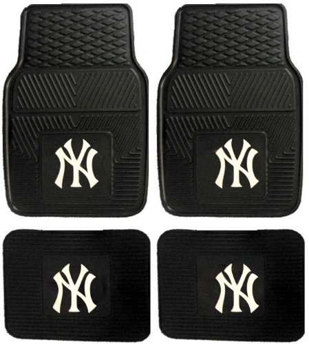 MLB New York Yankees Car Floor Mats Heavy Duty 4-Piece Vinyl - Front and Rear