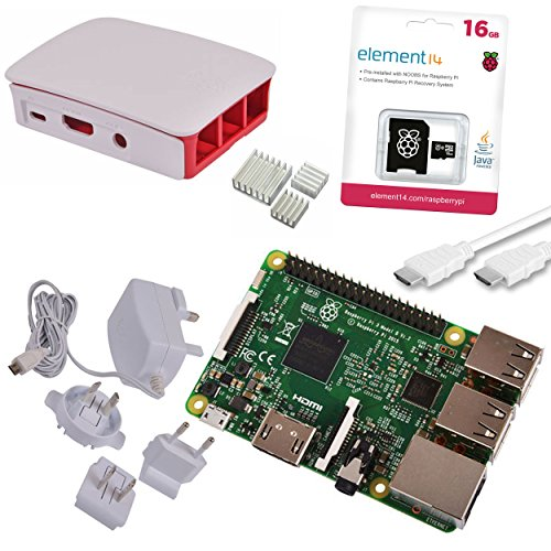 Raspberry Pi 3 Official Starter Kit White, with Official Charger, Official Case, Official 16GB microSD with NOOBS, HDMI and Heatsink set