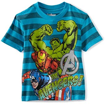Marvel Big Boys' Avenger Captain America Blue Stripe Short Sleeve Tee, Blue, 4/5