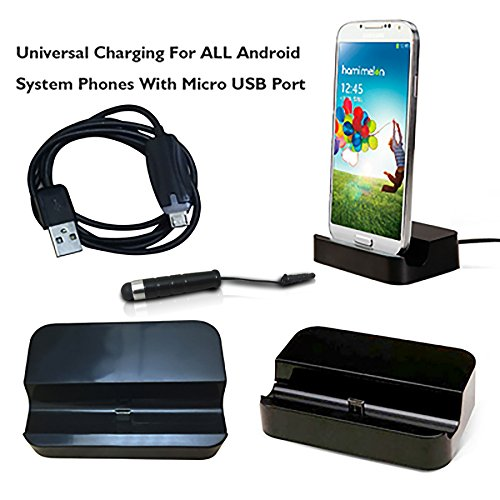 Universal Charger Docking Station for Android Smartphone + Mini Stylus Pen + Anti-Dust Plug, Micro USB 2.0 Desktop Charger Cradle + Cable inculded,