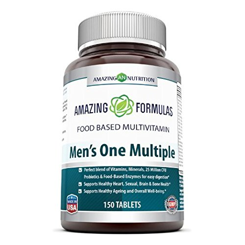 Amazing Nutrition Men's One Multiple 150 Tabs - Just One Tablet of Amazing Nutrition's Men's One Multiple Food Based Multivitamin May Serve As a Great Way to Provide Nutrients That a Man's Body Needs to Stay Healthy and Active