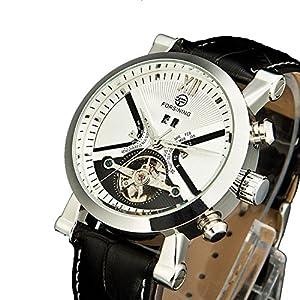 PASOY Men's Automatic Machine White Dial Tourbillion Watch Black Leather waterproof Men Watch Calendar