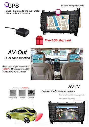 YINUO-7-Zoll-2-Din-Touchscreen-In-Dash-Autoradio-Moniceiver-DVD-Player-GPS-Navigation-fr-Mercedes-Benz-C-Class-W203-2004-2007-Benz-CLK-W2092004-2005-Nachtsicht-Kamera-