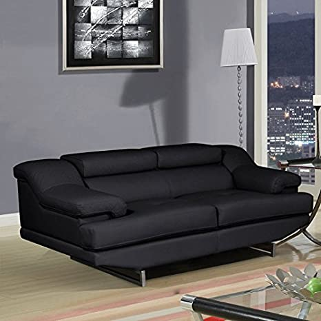 Global Furniture Natalie Loveseat, Black and Wagner