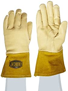 "West Chester 6020 Grain Pigskin Leather Insulated Top MIG Welding Glove with 4"" Split Cowhide Cuff, Work, 0.9mm Thick, Medium, Natural (Pack of 1 Pair)"