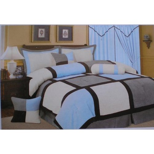 7 Pc Cal King Blue / Grey Patch Work Square Quality Soft Micro Suede Comforter Set Bedding in a Bag