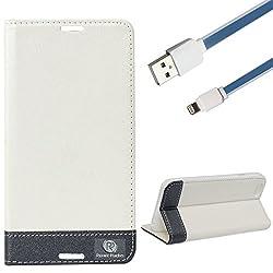DMG Apple iPhone 6 Plus 6s Plus Flip Cover, DMG PRaiders Premium Magnetic Wallet Stand Cover Case for Apple iPhone 6 Plus 6s Plus (White) + 8 Pin Data Cable