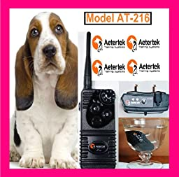Aetertek Rechargeable Waterproof 350 Meter Range Remote Control Training Shock Collar with 7 Levels of Shock and Vibration Plus Beep Sound for 2 Dogs