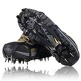 YUEDGE ユニバーサル18スチール歯滑り止めの氷と雪の牽引クリート安全保護靴/L