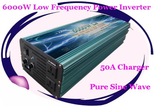 6000 Watt Continual 18000 Watt Surge Low Frequency Pure Sine Wave Power Inverter Converter Transformer 12 V Dc Input / 220 V-240 V Ac Output 60 Hz Frequency With 100A Battery Charger Power Tools