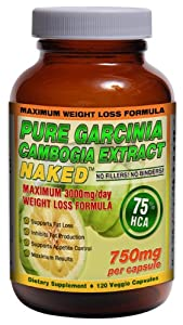 75% HCA GARCINIA CAMBOGIA NAKED™ 3000mg/day - 120ct - 750mg/capsule | Maximum Daily Dosage for Weight Loss. Strongest Garcinia Cambogia with 75% HCA!