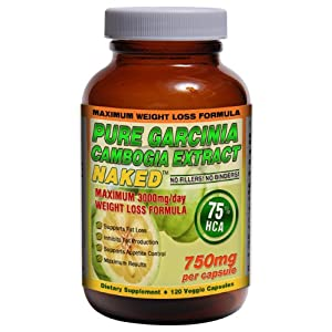 75% HCA GARCINIA CAMBOGIA NAKED™ 3000mg/day - 120ct - 750mg/capsule | Maximum Daily Dosage for Weight Loss. Strongest Garcinia Cambogia with 75% HCA! images