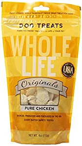 Whole Life Pet Single Ingredient USA Freeze Dried Chicken Breast Treats for Dog, 4-Ounce