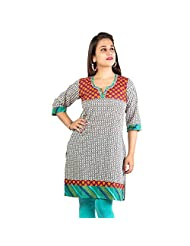 Rama Cotton White Printed Knee Length Kurti (14RAMA1421072)