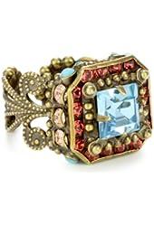 "Sorrelli ""Tropical"" Crystal Princess Cut Adjustable Gold-Tone Ring"