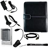 Ultimate Sony Reader eBook Touch Edition PRS-600 Bundle Pack: Black Leather Cover Case, eBook LED Light, USB 2in1 Data Cable, Car Charger, Wall Charger, and Screen Protector with 4-Inch TsirTech Hand Strap