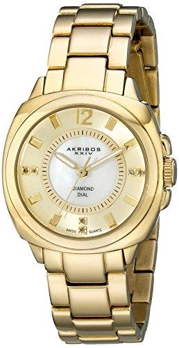 Akribos XXIV Women's Lady Diamond Gold-Tone Bracelet Watch