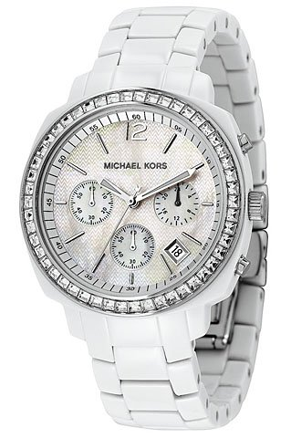Michael Kors Quartz, Mother of Pearl Dial with White Acrylic Link Band - Womens Watch MK5079