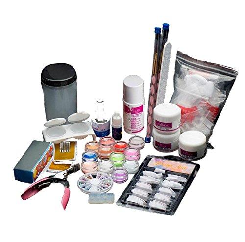 tefamore-19acrylic-nail-art-tips-powder-liquid-brush-glitter-clipper-primer-file-set-kit