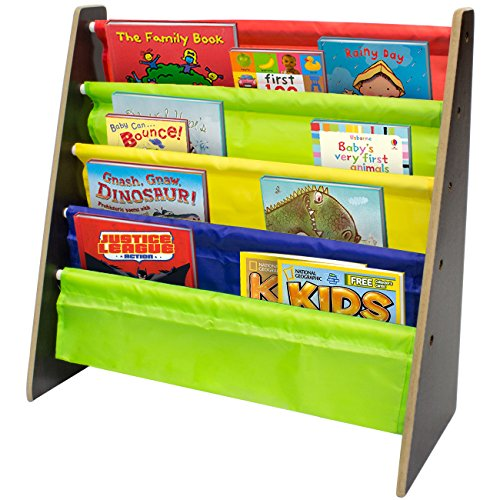 Sorbus Kids Bookshelf - Bright Primary Color Pockets Toddler Bookcase -Features Sling Pockets for Books & Toys-Great for Bedroom, Playroom, Book Store, Classroom, Toddler Gym, Daycare, etc (Espresso) (Color Book Bins compare prices)