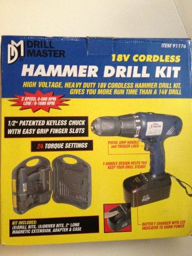 Drill Master 18V Cordless Hammer Drill Kit - Model 91176