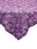 LA Linen? 48x48-Inch Square Satin Ribbon Rosette Overlay, Lilac. Made In USA.