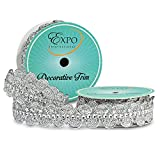 Expo International SIR6964SL Eva Faux Rhinestone Metallic Braid Trim Spool, 3 yd, Silver (Color: Silver, Tamaño: 3 yd)