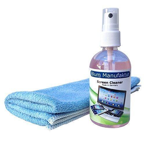 Blum - Set 100ml pulizia dello schermo + panno in microfibra. Per la perfetta pulizia di Apple iPhone | iPad | iPad Mini | iPad Air | iPad Pro | iMac | MacBook | MacBook Air | MacBook Pro | Watch - Ecocompatibile e biodegradabile - 100% Made in Germany