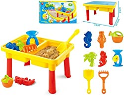 Toys Bhoomi 2-in-1 Beach Sand & Water Play Table for Kids - Included 8 Accessories