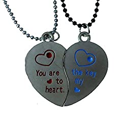 Modish Look Beautiful Two Heart Love Magnetic Couple Lockets With Chain