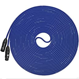 LyxPro Balanced XLR Cable 50 ft Premium Series Professional Microphone Cable, Powered Speakers and Other Pro Devices Cable, Blue