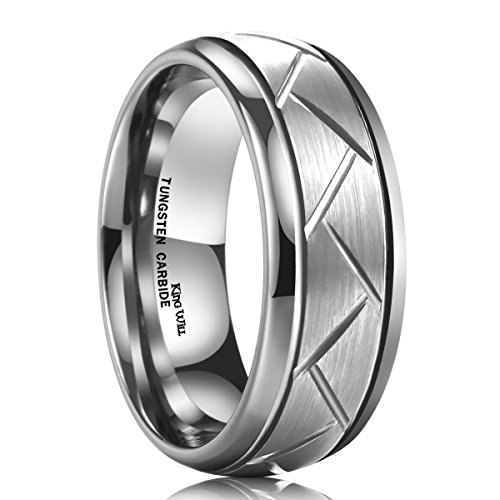 King Will 8MM Silver Domed Grooved Tungsten Carbide Ring Men's Brushed Wedding Band(13.5) (Triton Tungsten Rings For Men compare prices)