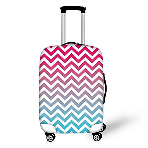 "Anyshock Creative Elastic Design Dust-proof and Waterproof Travel Luggage Covers Suitcase Protective Cover With Chevron for Woman and Men,Travelers,Hiker (Rainbow, S(18""-22""))"