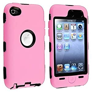 Pink Deluxe Hybrid Cover Case Skin for Apple iPod 4 iPod touch 4th generation + screen protector and cleaning cloth