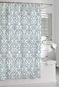 Amazon com shower curtain kassatex scrolled ikat blue grey white 72 x