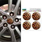 Leopard Animal Print Wheel Center Cap 3D Domed Stickers Badges - Set of 4