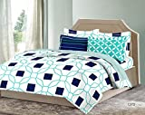 Bombay Dyeing Solitaire 100%Cotton King Size Bedsheet with 4 Pillow Covers-White and Green